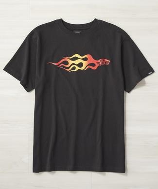 VANS フレイムロゴプリントTシャツ メンズ ブラック