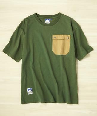 SIERRA DESIGNS 無地ワンポイントポケットTシャツ メンズ ベージュ*グリーン