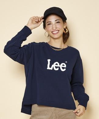 Lee 裾スリットロゴトレーナー レディース ネイビー