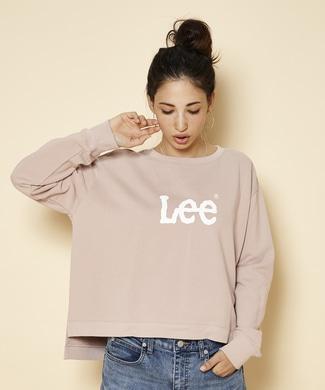 Lee 裾スリットロゴスウェットプルオーバー レディース ピンク