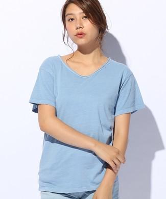 Naughty Dog フェードクルーネックTシャツ レディース ブルー
