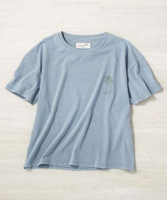 Naughty Dog フェードサーフプリントTシャツ レディース サックス