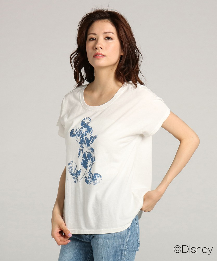DISNEY ミッキーマウスデザイン プリントゆるTシャツ レディース ホワイト*