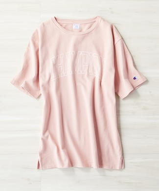 Champion ロゴTシャツ レディース ピンク