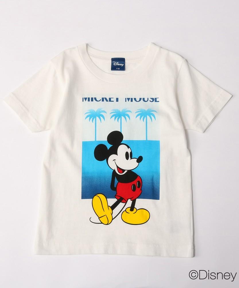 DISNEY ミッキーマウスデザイン グラデーションプリントTシャツ キッズ ホワイト*ブルー