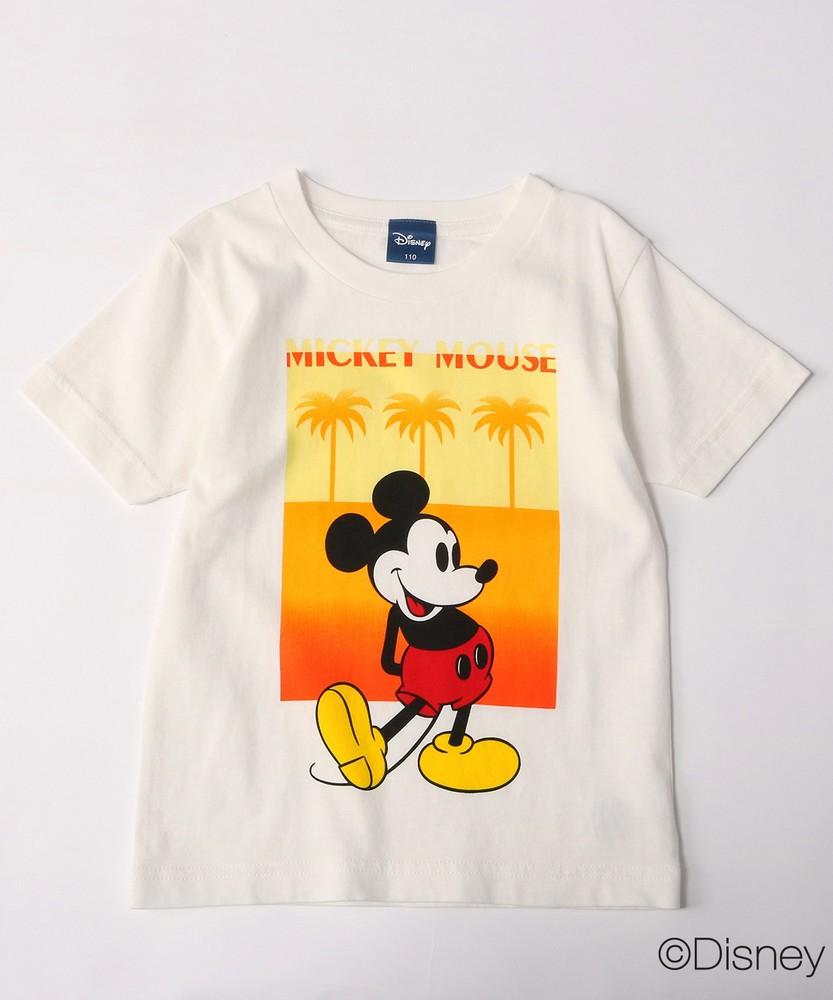 DISNEY ミッキーマウスデザイン グラデーションプリントTシャツ キッズ ホワイト*オレンジ