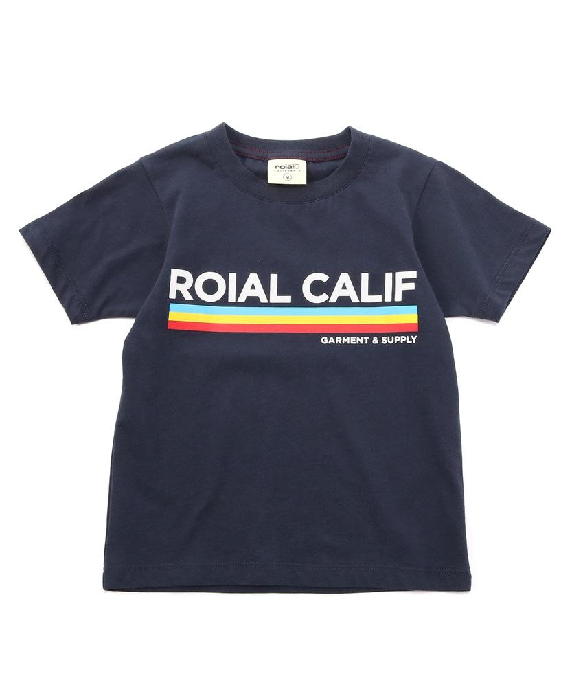 roial ラインデザイン半袖Tシャツ キッズ ネイビー