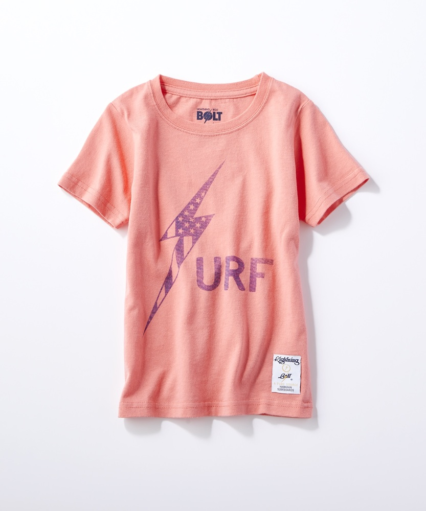 Lightning Bolt サーフロゴTシャツ キッズ ピンク
