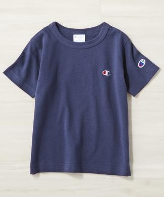 Champion ワンポイントロゴクルーTシャツ キッズ ネイビー