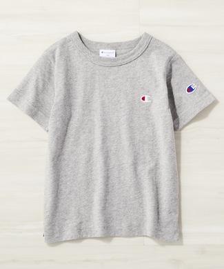 Champion ワンポイントロゴクルーTシャツ キッズ グレー