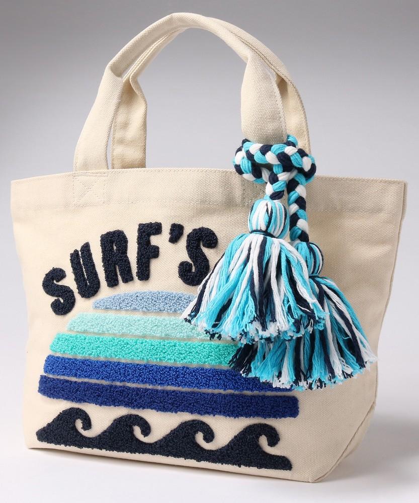 SURF'S UP キャンバスサガラ刺繍バッグ ブルー